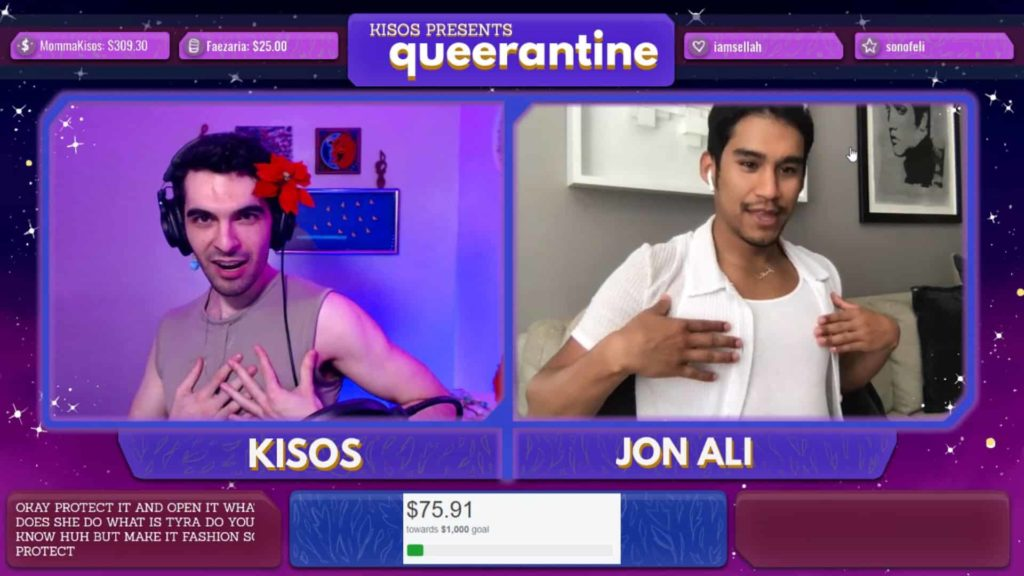 A screen capture of Kisos with LGBTQ+ music blogger, Jon Ali, co-hosting Queerantine on Twitch.